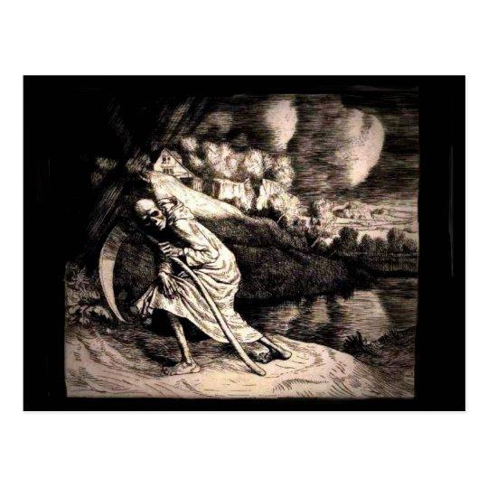 Grim Reaper in black postcard