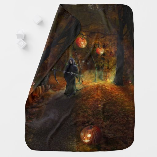 Grim Reaper jack-o-lantern path Baby Blanket