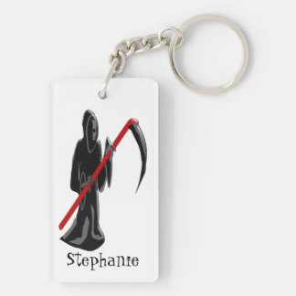 Grim Reaper Just Add Name Double-Sided Rectangular Acrylic Key Ring