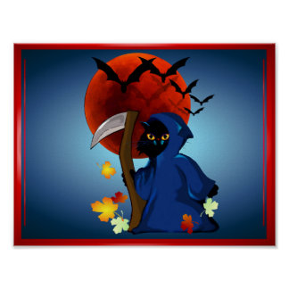 Grim Reaper Kitty Poster