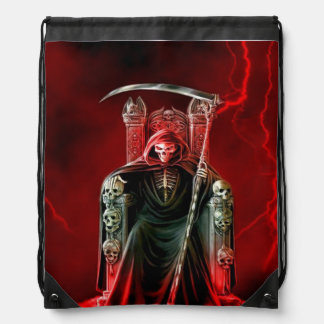 Grim Reaper On His Throne Drawstring Bag