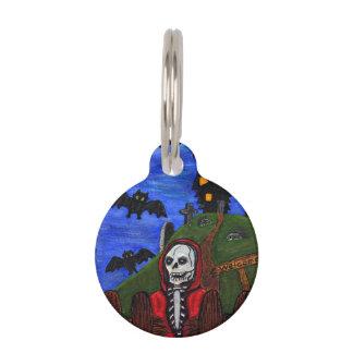 Grim Reaper Skeleton Haunted House Tombstones Pet ID Tag
