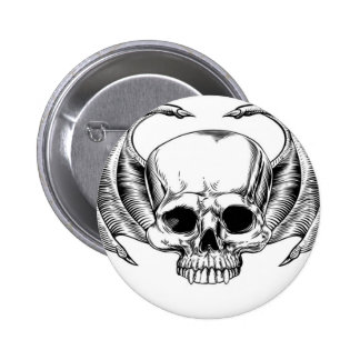 Grim Reaper Winged Skull 6 Cm Round Badge