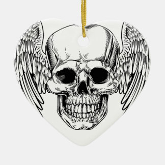 Grim Reaper Winged Skull Ceramic Heart Decoration