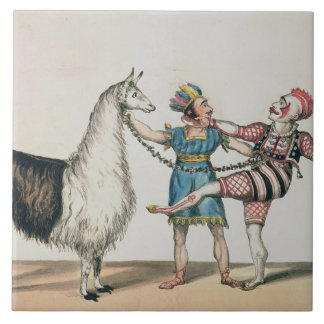 Grimaldi and the Alpaca, in the Popular Pantomime Large Square Tile