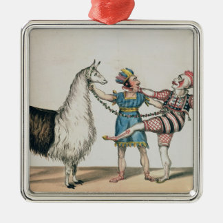 Grimaldi and the Alpaca, in the Popular Pantomime Silver-Colored Square Decoration