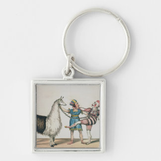 Grimaldi and the Alpaca, in the Popular Pantomime Silver-Colored Square Key Ring