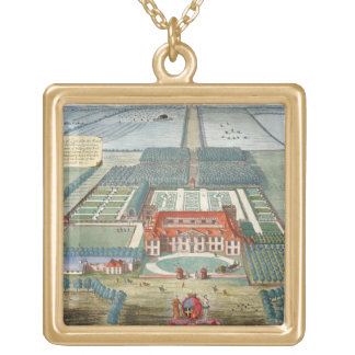 Grimsthorp in the county of Lincoln engraved by Jo Gold Plated Necklace