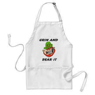 Grin and bear it St Patrick s Day Leprachaun gift Aprons