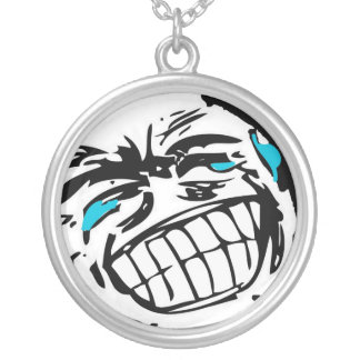 Grin Comic Face Round Pendant Necklace