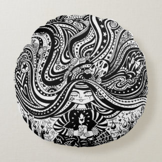 Grincheux Angel Wishes, Round black & white Pillow