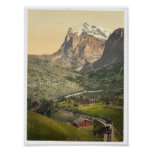 Grindelwald and Mount Wetterhorn, Bernese Oberland Poster