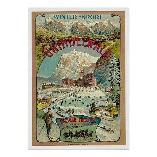 Grindelwald Switzerland Vintage Travel Poster
