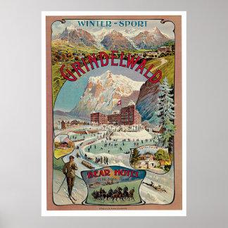 Grindelwald Winter-Sport Vintage Travel Poster