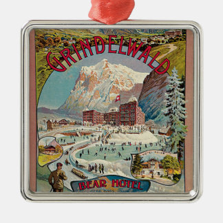 Grindelwald Winter-Sport Vintage Travel Poster Christmas Ornament