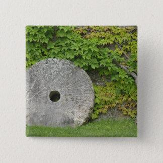 Grinding stone, Castle Banfi in Tuscany region, 15 Cm Square Badge
