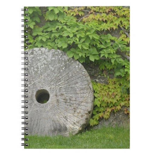 Grinding stone, Castle Banfi in Tuscany region, Notebooks