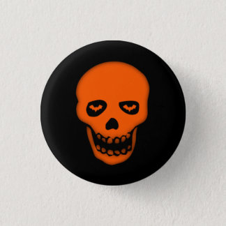 Grinning Bat Skull Goth Badge