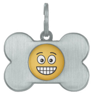 Grinning Face with Open Eyes Pet ID Tag