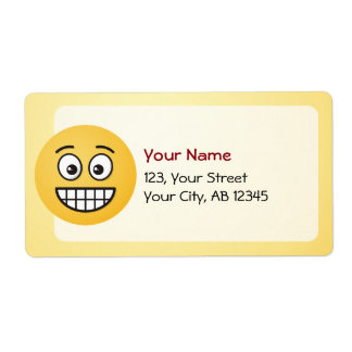 Grinning Face with Open Eyes Shipping Label