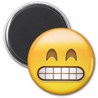 Grinning Face With Smiling Eyes Emoji 6 Cm Round Magnet