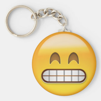Grinning Face With Smiling Eyes Emoji Basic Round Button Key Ring