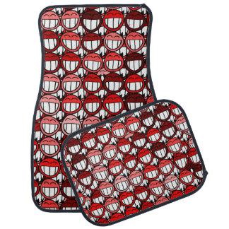 Grinning Funny Smiley Face Red Little Devils Floor Mat