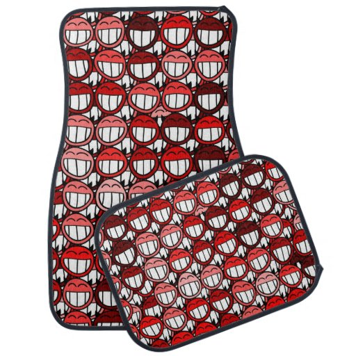 Grinning Funny Smiley Face Red Little Devils Car Mat