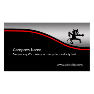 Grinning Gremlin Imp, red swoosh, metallic-look Pack Of Standard Business Cards