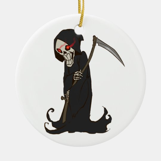 Grinning Grim Reaper with Red Eyes Holding Scythe