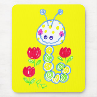 Grinning Happy Caterpillar Yellow Background Mouse Mat