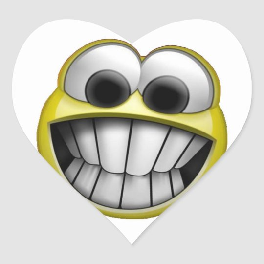 Grinning Happy Smiley Face Heart Sticker