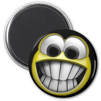 Grinning Happy Smiley Face Fridge Magnet