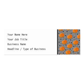 Grinning Orange Halloween Pumpkin Pattern Pack Of Skinny Business Cards