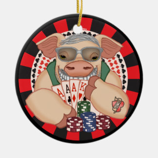 Grinning Poker Pig Christmas Ornament