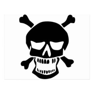 Grinning Skull & Bones Post Cards