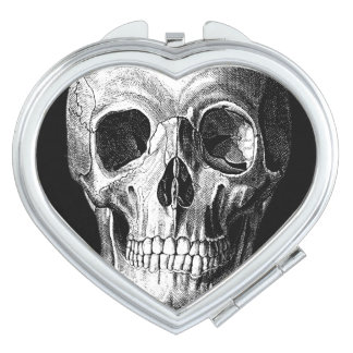 Grinning Skull Heart Shaped Mirror Compact Mirror