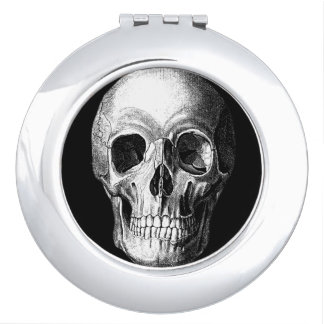 Grinning Skull Round Mirror Makeup Mirrors