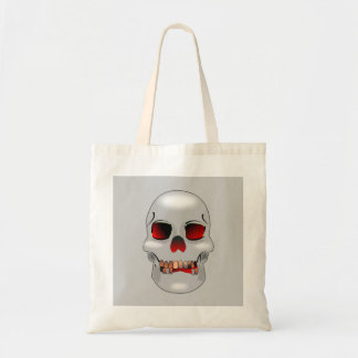 Grinning skull tote budget tote bag