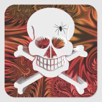 Grinning Skull with Spider Square Stickers