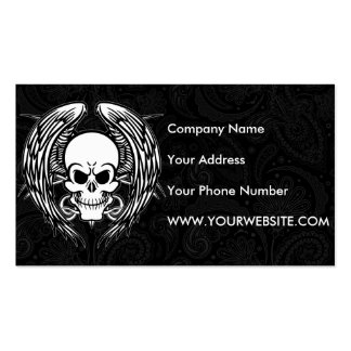Grinning Tattoo Skull and Wings with Tribal Pack Of Standard Business Cards