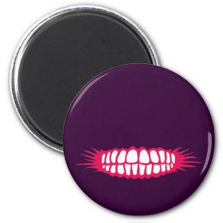 Grinning Teeth 6 Cm Round Magnet
