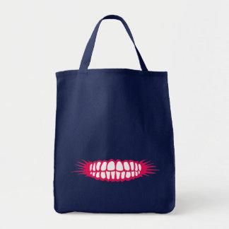 Grinning Teeth Grocery Tote Bag