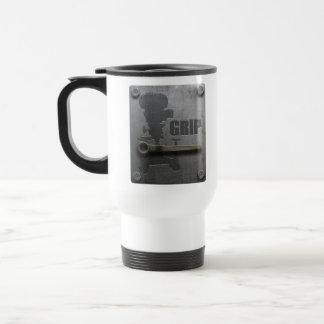 GRIP LOCATION MUG with metal plate design.