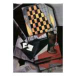 Gris - Chequerboard and Playing Cards Poster