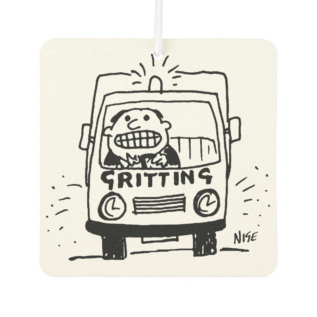 Gritting Lorry has a Driver Gritting His Teeth Car Air Freshener