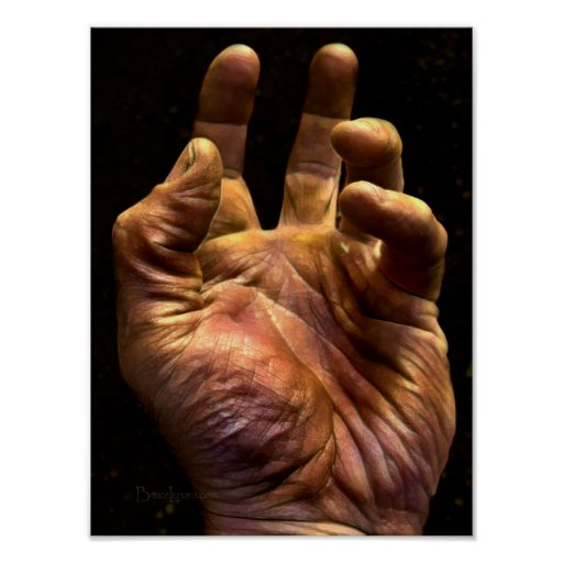 Gritty Grasping Human Hand Poster