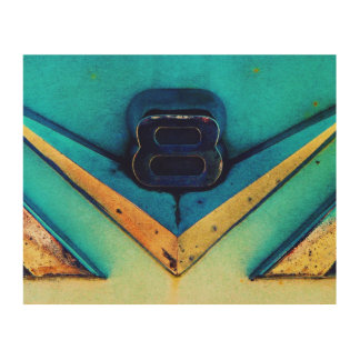 Gritty V8 Artsy Chrome Emblem on Hotrod Wood Canvas