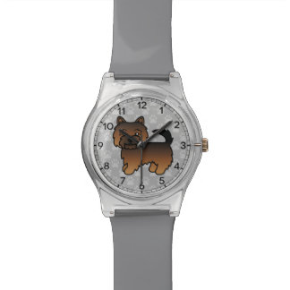 Grizzle Color Norwich Terrier Cartoon Dog Wrist Watch