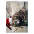 Grizzley Bear in a Santa Hat Card